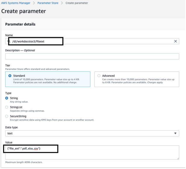 You must create three different parameters in the Amazon AWS Systems Manager Parameter Store - File extension (3) - update