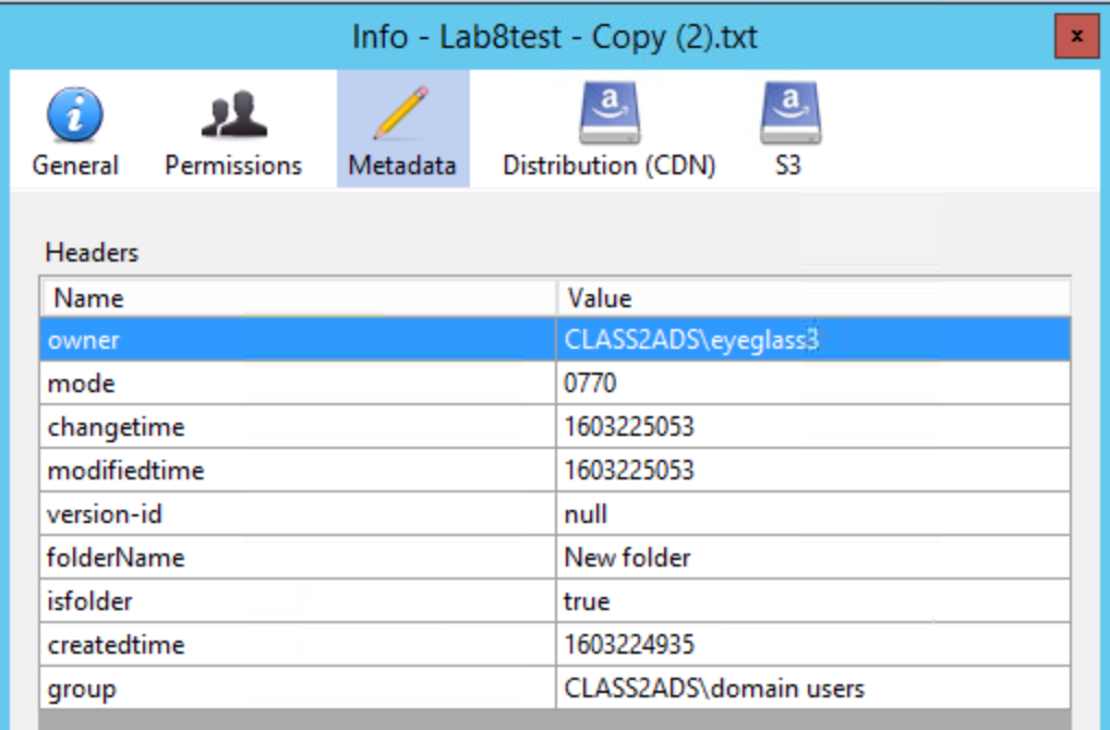 Figure 8 - Cyberduck interface showing folder metadata retained within the object