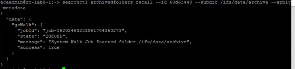 Figure 9 - Restoring data to a different folder
