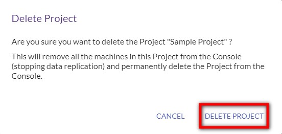 Confirm project deletion