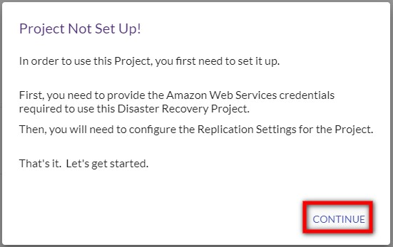 Project not set up message appears
