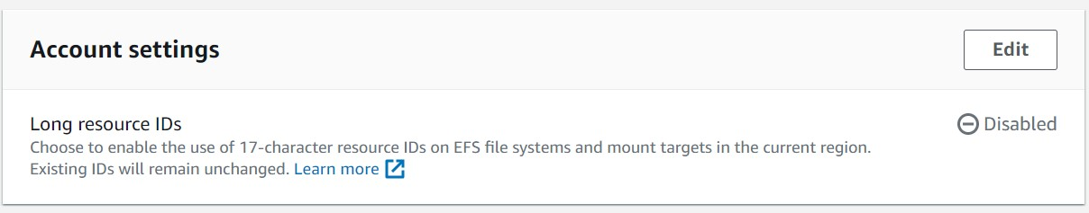 Amazon EFS settings. Click on Edit to make changes to the Amazon EFS settings
