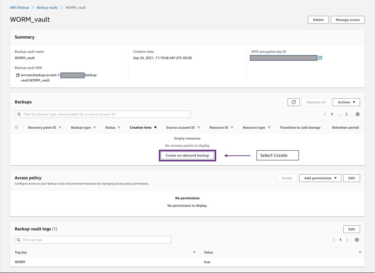 Select Create on-demand backup