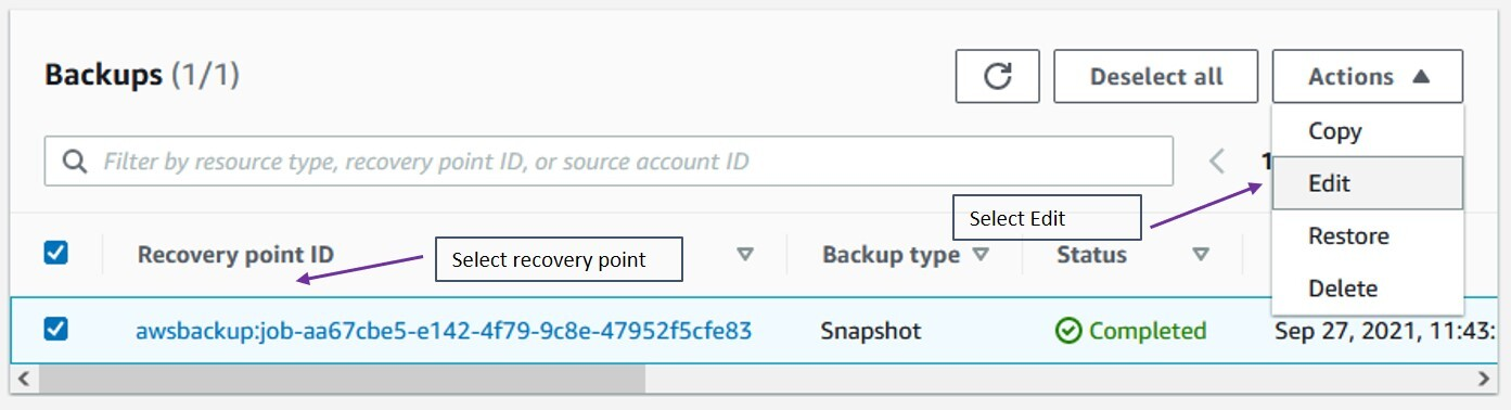selecting Edit, you will be in the recovery point detail page
