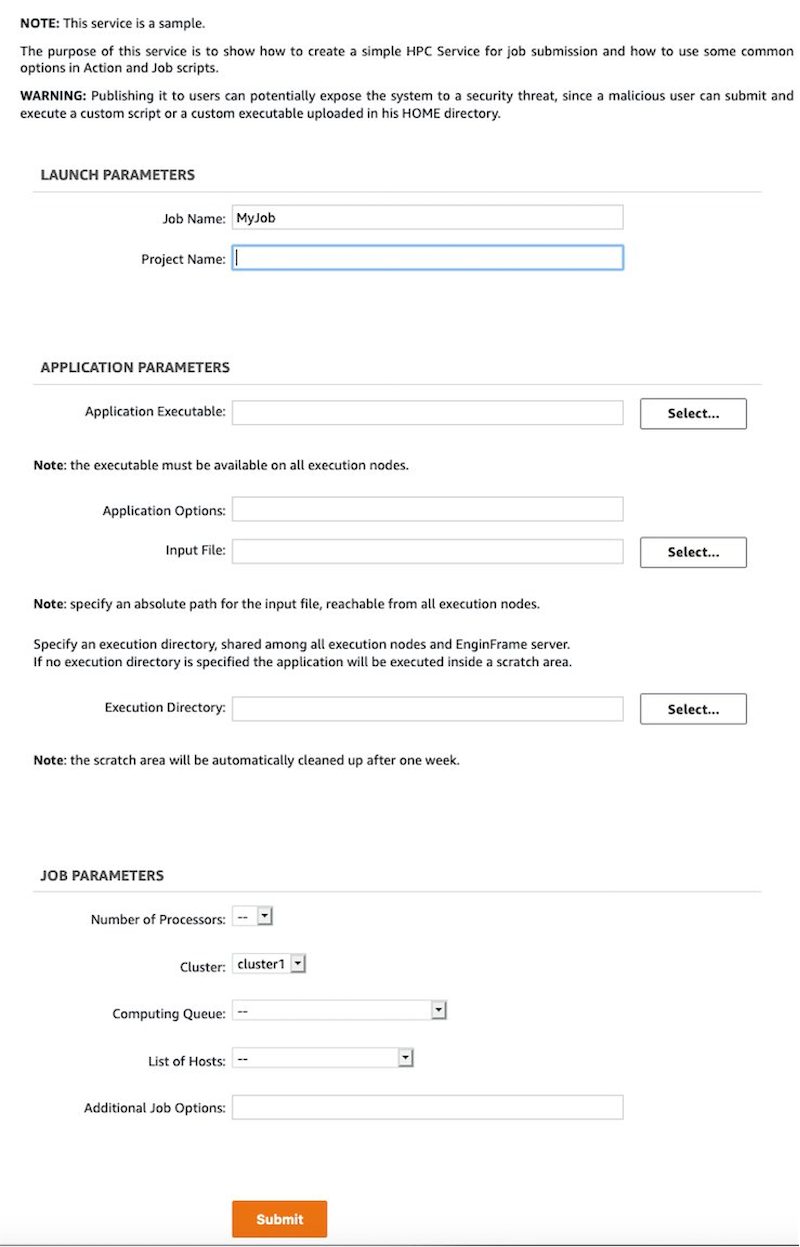 The job submission web page