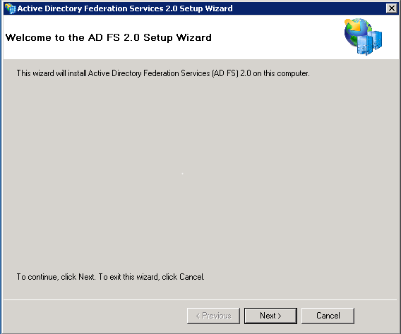 Screenshot of AD FS 2.0 Setup Wizard