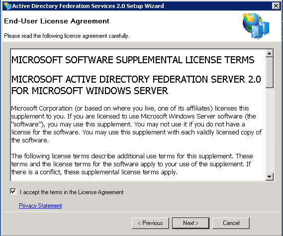 Screenshot of End-User License Agreement