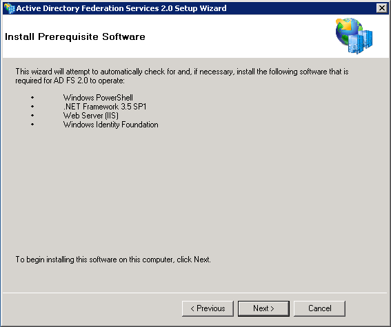 Screenshot of installing prerequisite software