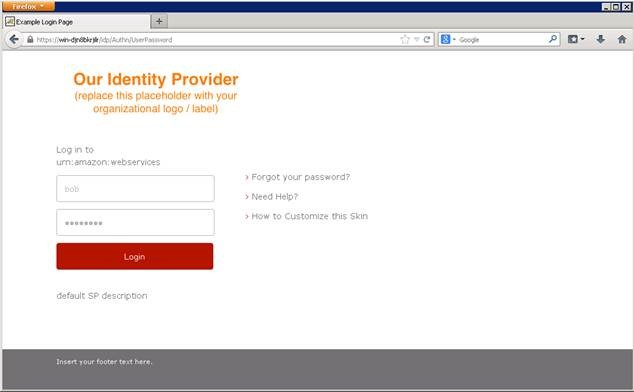 Screenshot of the default Shibboleth login page