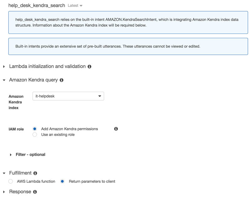 Integrate Amazon Kendra and Amazon Lex using a search intent 6