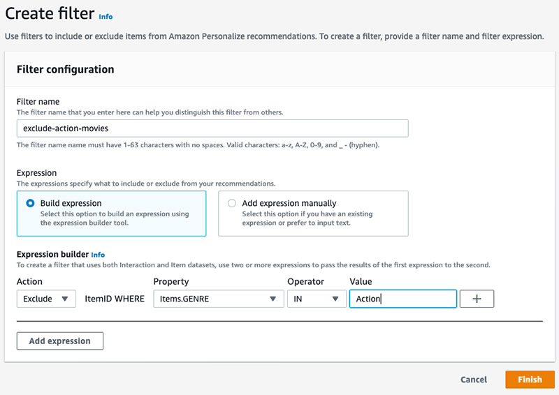 Enhancing recommendation filters by filtering on item metadata with Amazon Personalize 1