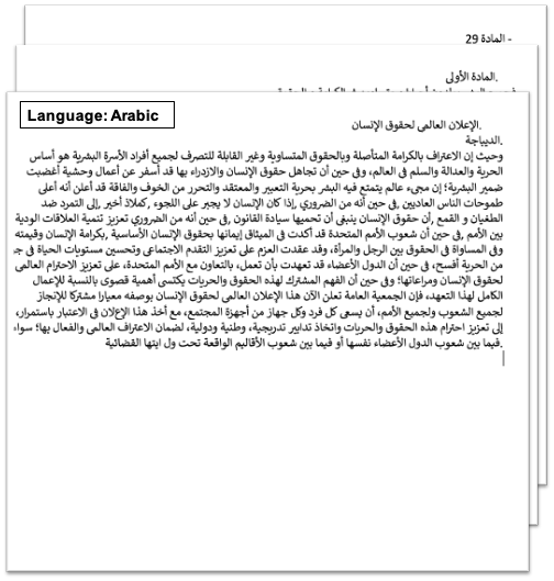 screenshot of a input sample scanned document (UN Declaration of Human Rights) translated from English to Arabic as output