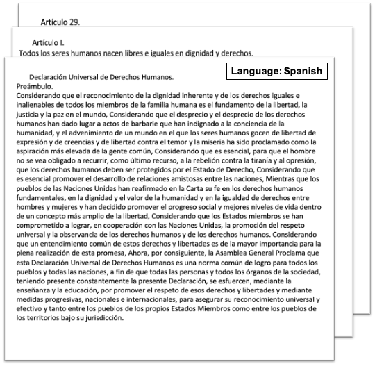 screenshot of a input sample scanned document (UN Declaration of Human Rights) translated from English to Spanish as output