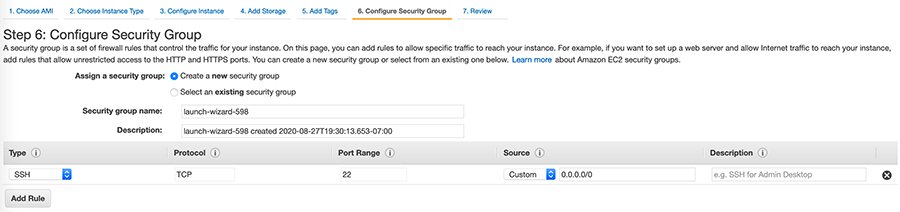 5A Configure Security Group