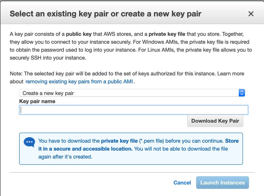 8 Select an existing key pair