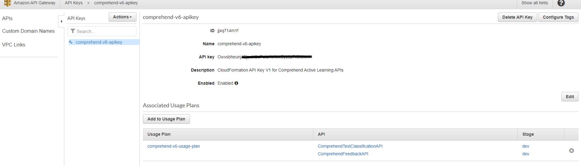API Key page