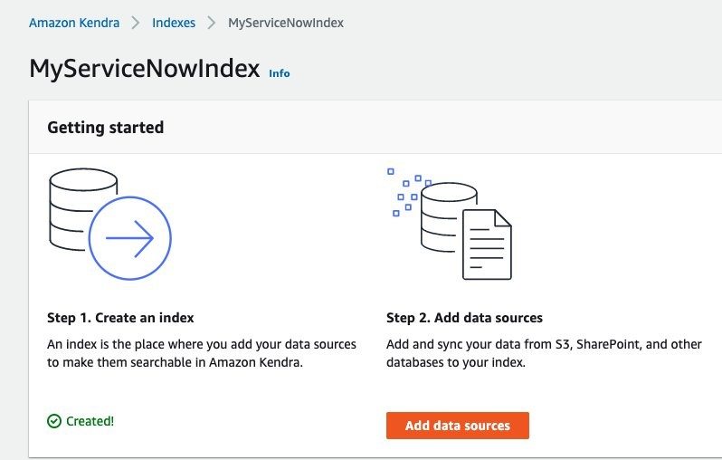 Getting started with Amazon Kendra ServiceNow Online connector