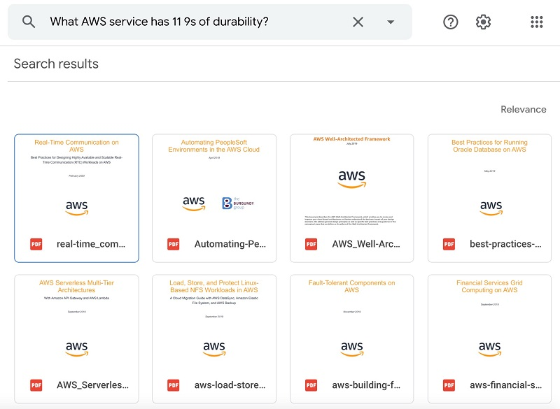 """The first query I test is """"What AWS service has 11 9s of durability?"""" The following screenshot shows the Google Drive output."""