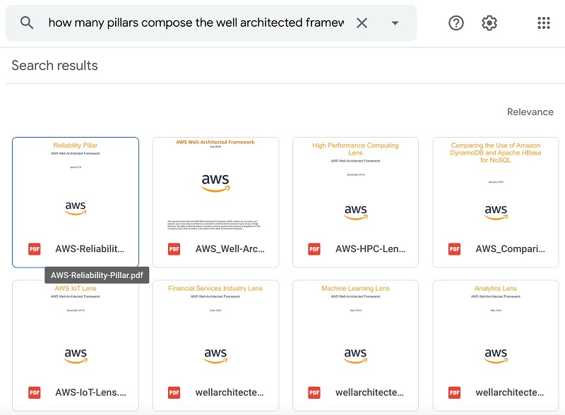 """The next query is """"How many pillars compose the well architected framework?"""" The following screenshot shows the response from Google Drive."""
