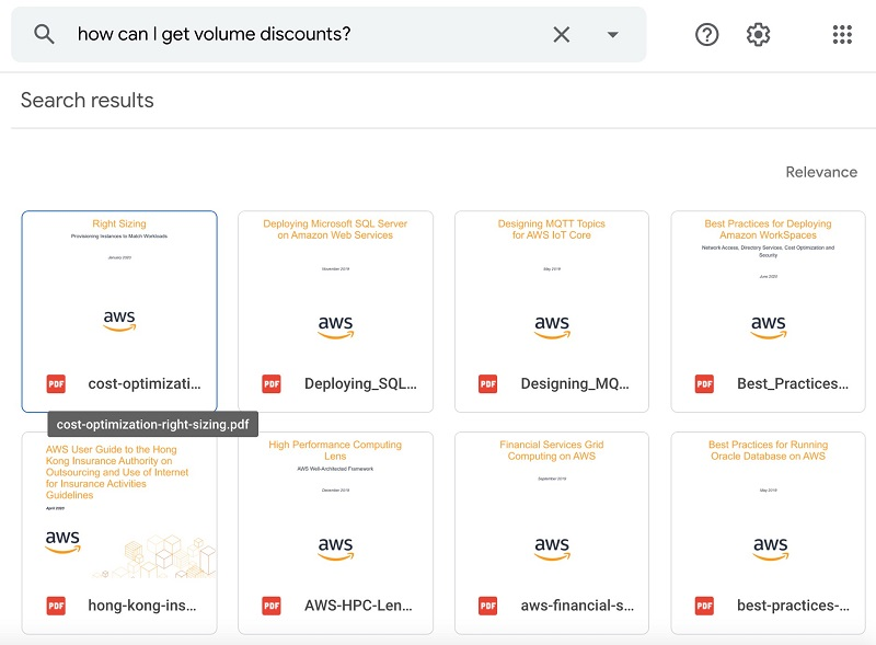 """The third query is """"How can I get volume discounts?"""" The following screenshot shows the response from Google Drive."""