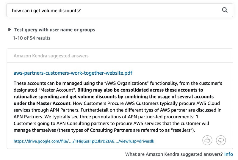 The following screenshot shows the query results in Amazon Kendra.