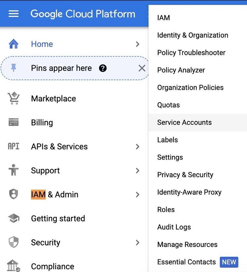 Choose IAM & Admin and choose Service Accounts.