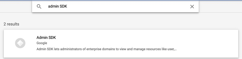 Search for and choose Admin SDK.