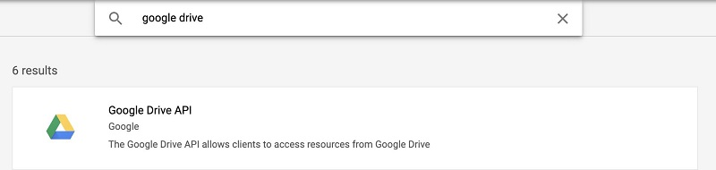 Search for and choose Google Drive API.