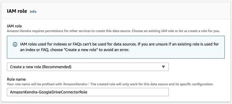 A screenshot showing entering a name for your IAM role.