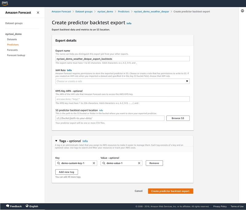 For S3 predictor backtest export location, enter the details of your Amazon Simple Storage Service (Amazon S3) location for exporting the CSV files.