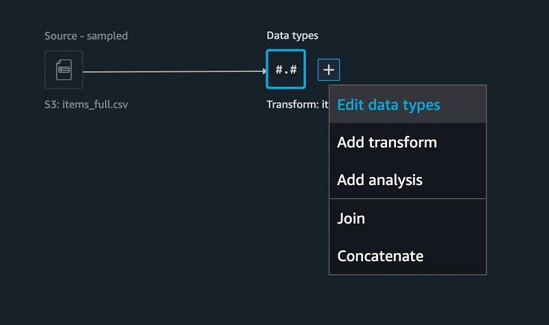 On the SageMaker Data Wrangler UI, for the items table, choose +.