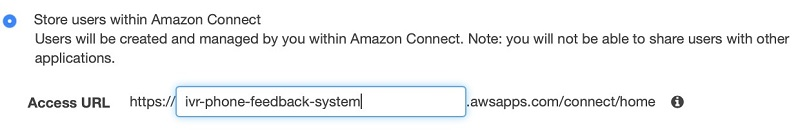 This name appears in the login as Amazon Connect and is not managed from within the AWS Management Console.