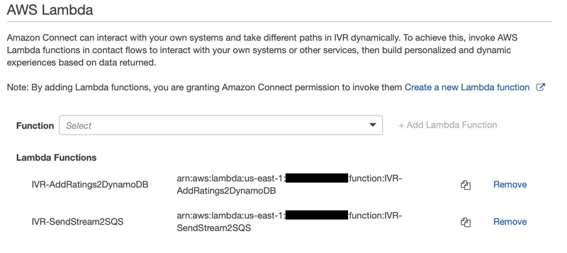 In the AWS Lambda section, add two of the functions created by the CloudFormation stack.