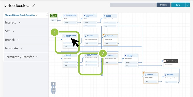 After you import the contact flow, you have the architecture as shown in the following screenshot.