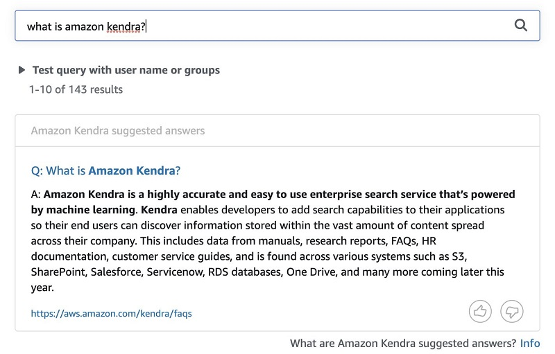 "For example, the following screenshot shows the results for the question ""what is Amazon Kendra?"""