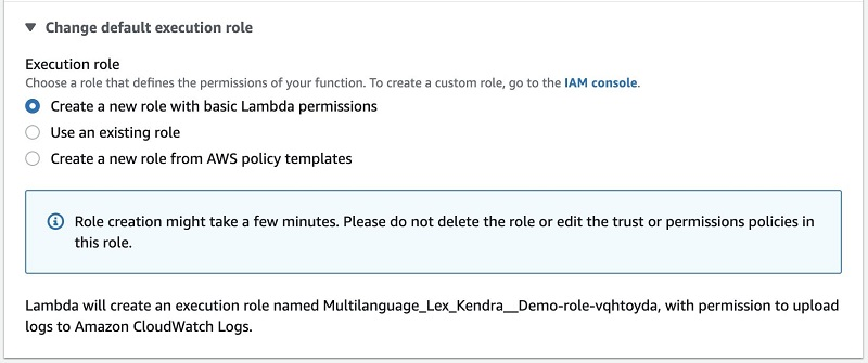 For Execution role, select Create a new role with basic Lambda permissions.