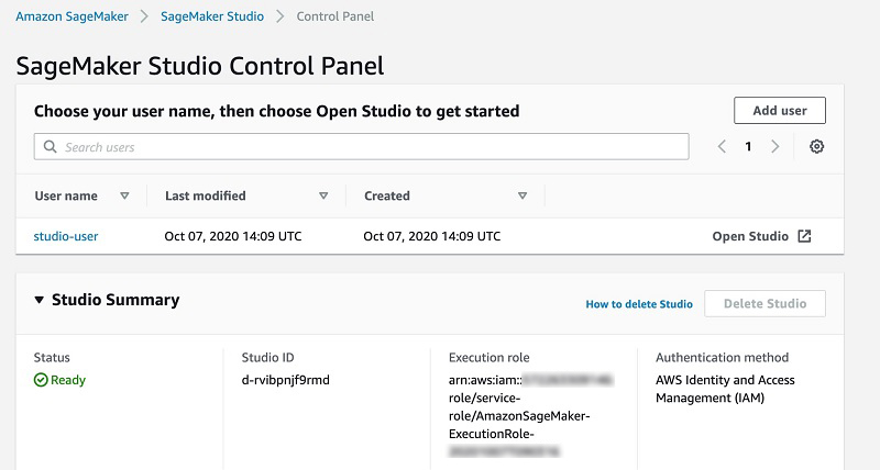 SageMaker Studio Control Panel