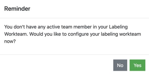 Choose Yes to configure your labeling team members.