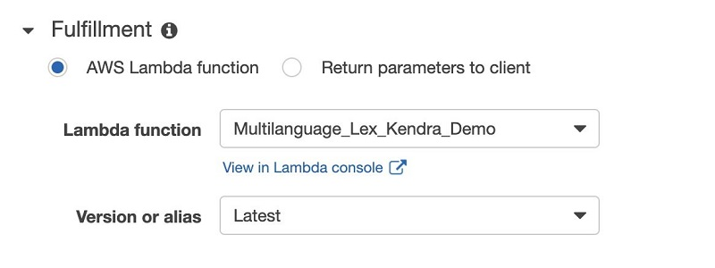For Lambda function, choose the function you created.