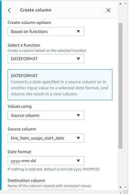 For Date format, choose yyyy-mm-dd.