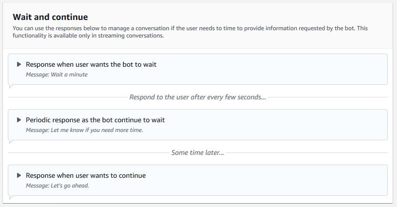 The following screenshot shows the wait and continue configuration options on the Amazon Lex console.