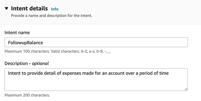 For Description, enter Intent to provide detail of expenses made for an account over a period of time.