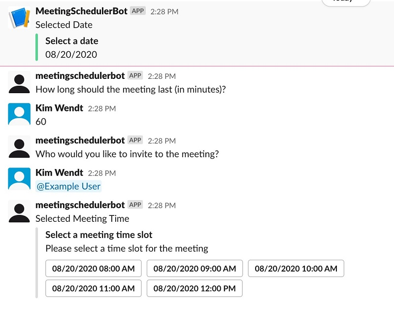 Choose your desired time of day for the meeting.