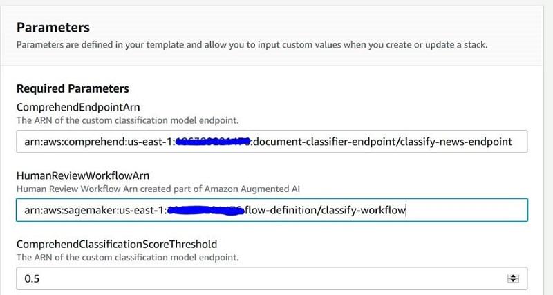 For ComrehendClassificationScoreThreshold, enter 0.5