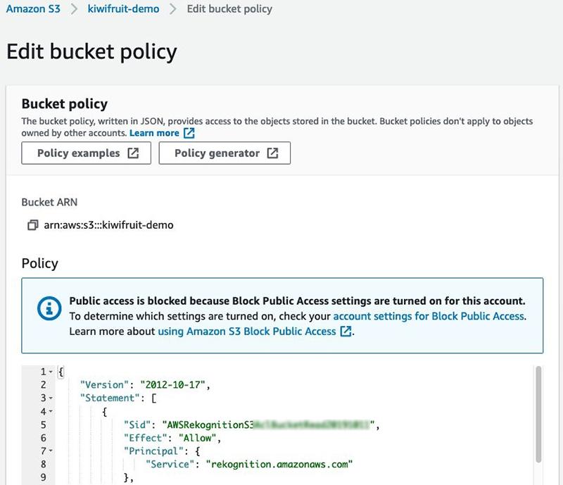 Edit bucket policy