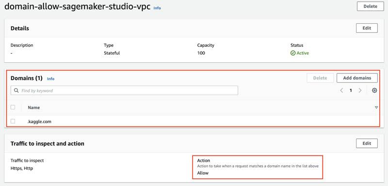 6 Domain allow sagemaker studio vpc