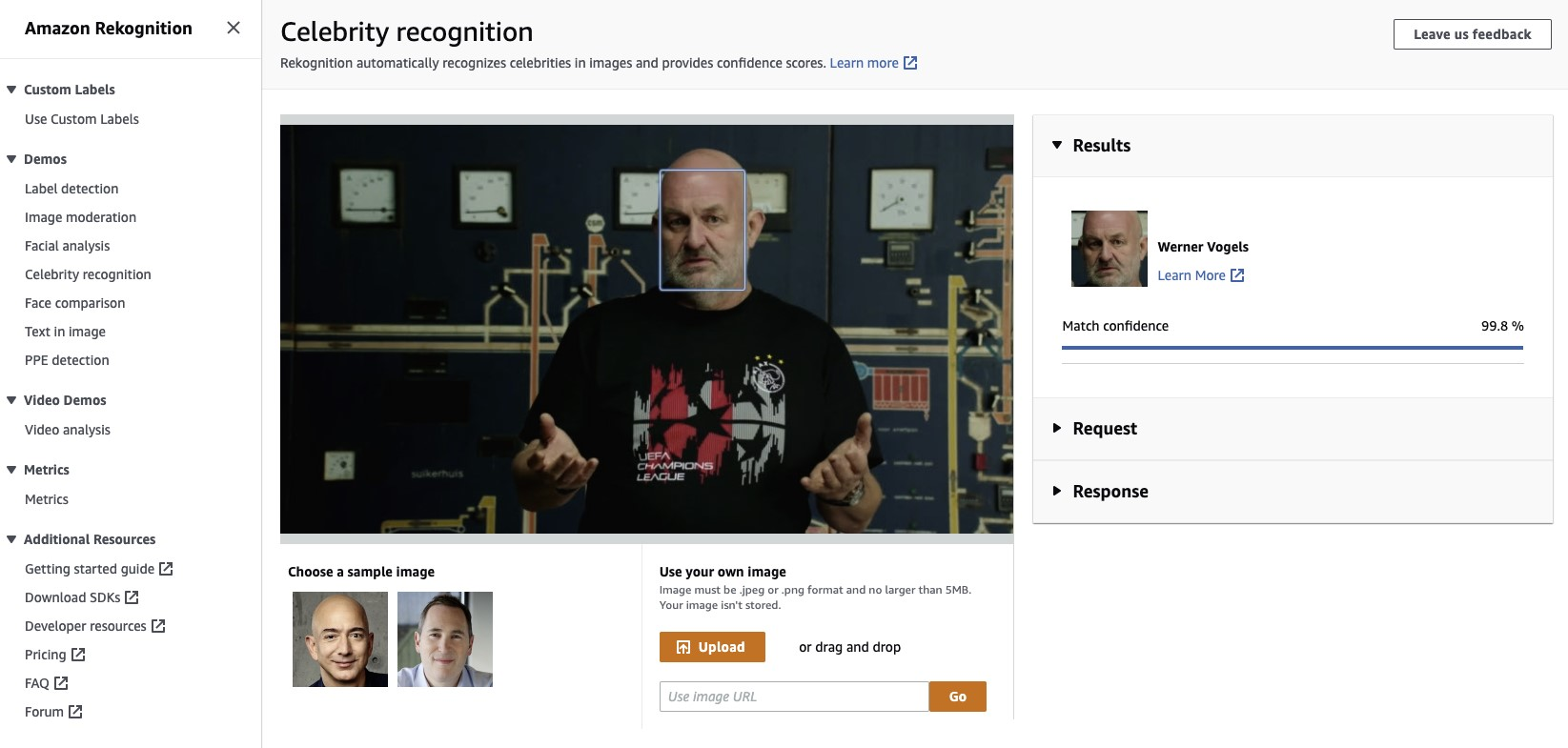 Recognize celebrities in images and videos using Amazon Rekognition