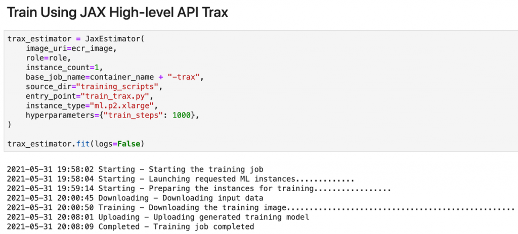 Train and deploy deep learning models using JAX with Amazon SageMaker