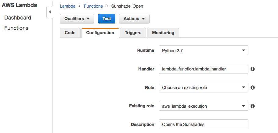 AWS Lambda Console screenshot