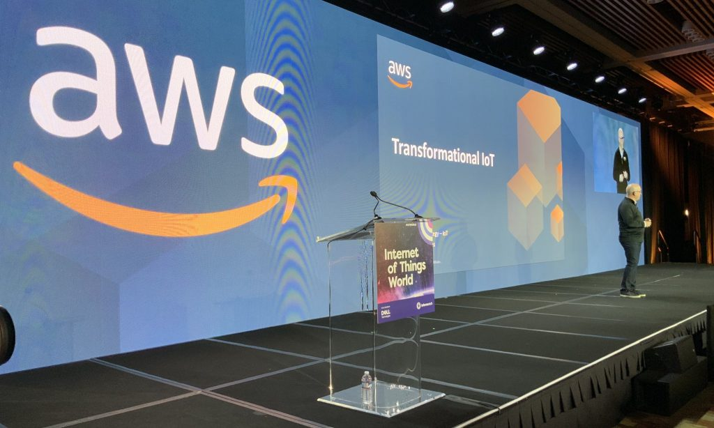 Mark Relph, Head of BD & Strategy for AWS IoT, presenting a keynote session at IoT World 2019